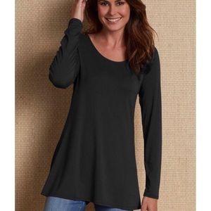 Soft Surroundings Long Sleeve Black Top/Tunic  L